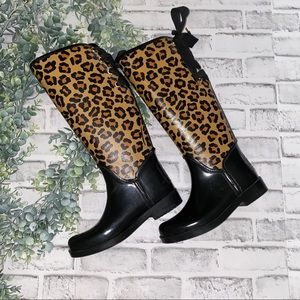 "Coach ""Trustee"" Shiney Rub Leopard Rain Boots"